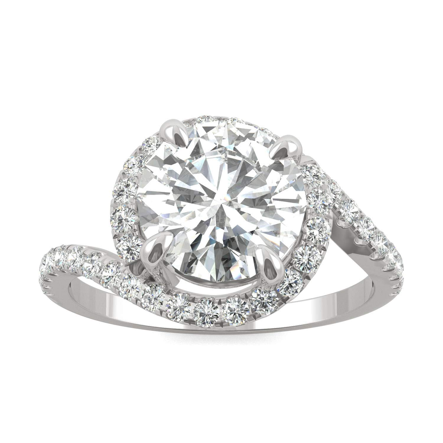14K White Gold Moissanite by Charles & Colvard 8mm Round Engagement Ring-size 6, 2.24cttw DEW