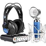 Neewer® kit de NW-2 tarjeta de sonido y micrófono NW-88 para Karaoke, grabación Personal o más, incluye: (1) NW-2S tarjeta de sonido + (1) NW 88 micrófono + (1) NW-680 auriculares + (1) Cable USB + (1) Cable de micrófono