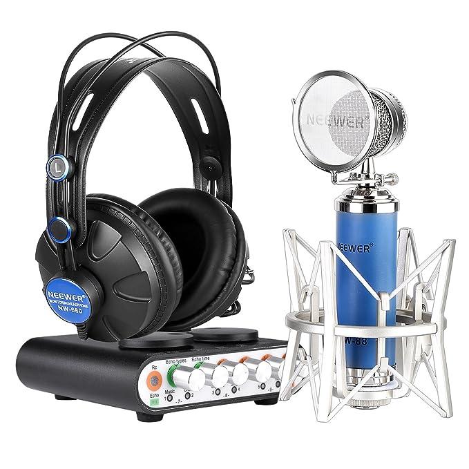 Neewer Kit de Nw-2 Tarjeta de Sonido y Micrófono Nw-88 para Karaoke, Grabación Personal o Más, Incluye: Nw-2S Tarjeta de Sonido + Nw 88 Micrófono + Nw-680 ...