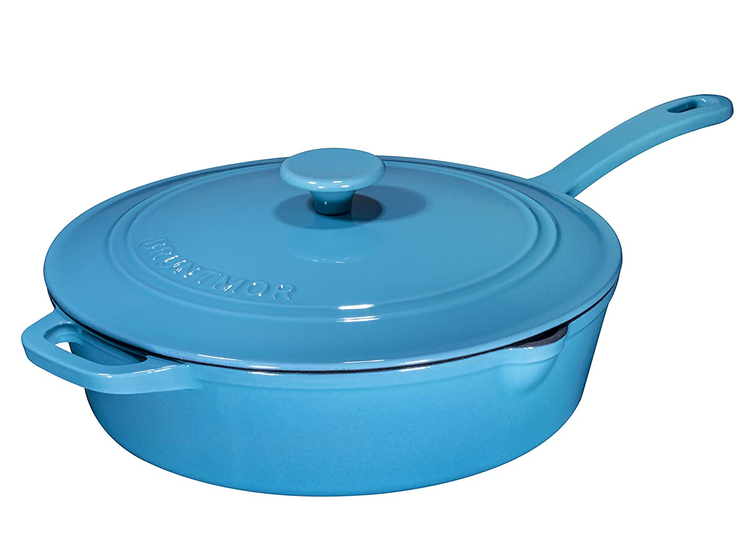 Enameled Cast Iron Skillet Deep Sauté Pan with Lid, 12 Inch, Turquoise Blue, Superior Heat Retention