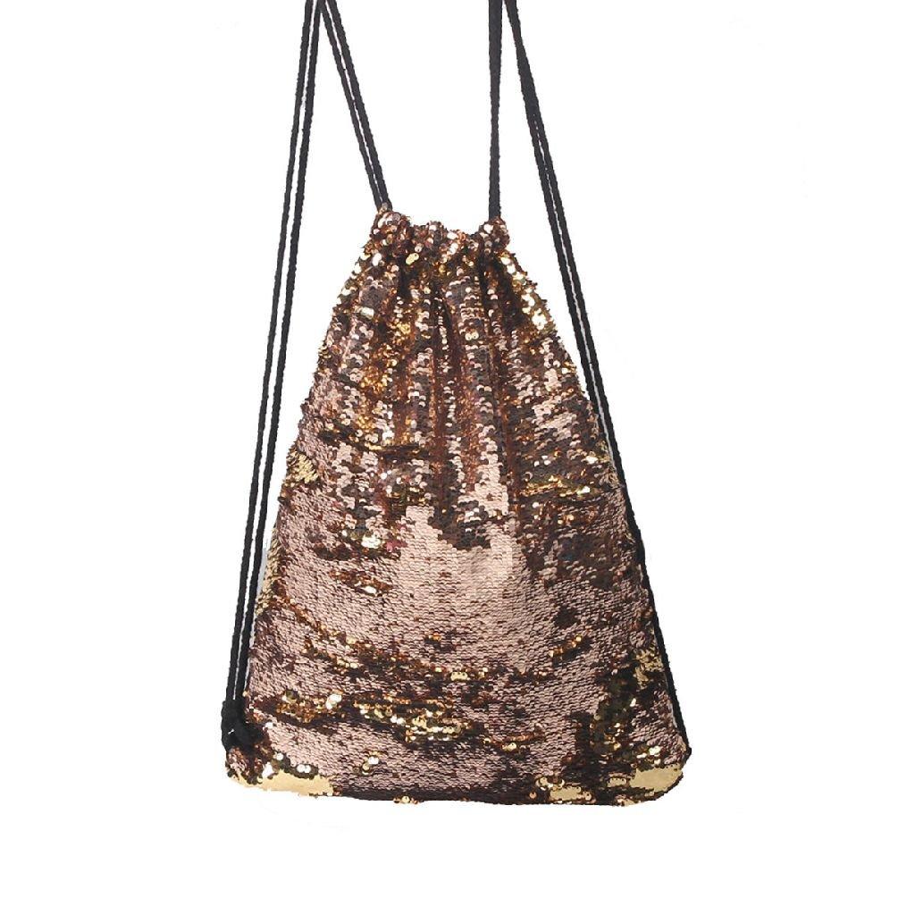 ESSAOAT Home Decor Women Sequin Drawstring Backpack Shoulder Bag Paillette Shoping Handbag Gold