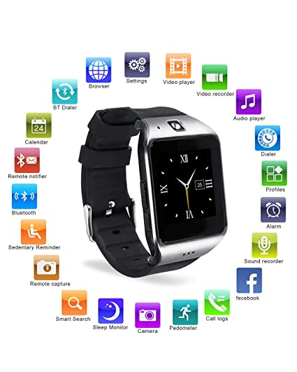 Reloj Inteligente, [Regalo de Reyes] HAMSWAN Smartwatch Bluetooth para Andriod con Cámara Facebook