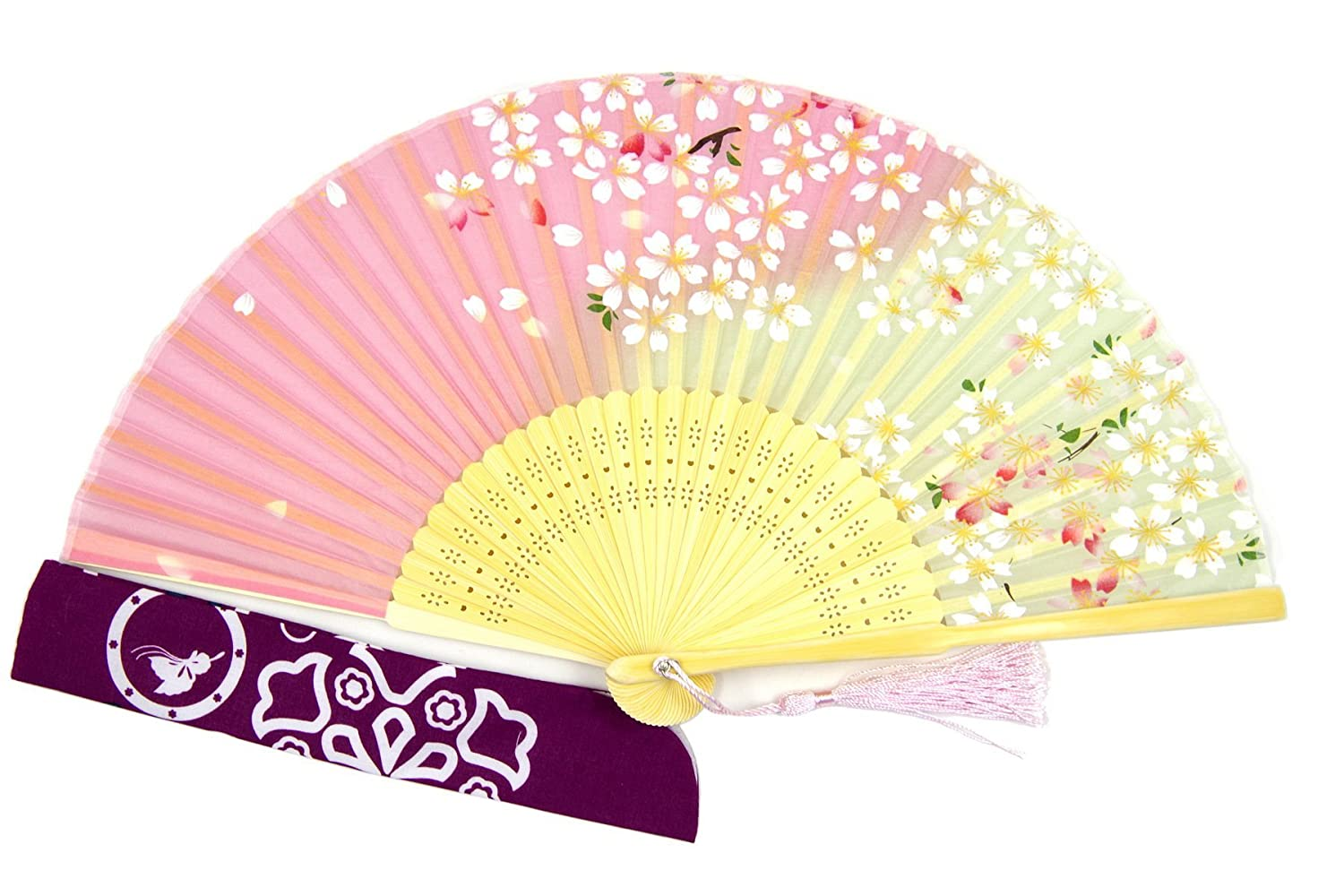 Amazon.com: DawningView Japanese Handheld Fan, Cherry Blossoms on ...