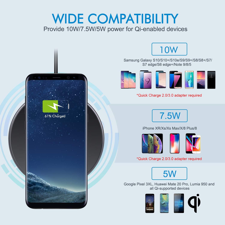 Te-Rich Cargador inalámbrico 15W Máximo Cargador Qi 10W para Samsung Galaxy y Note 10/10+/9/S10/S9/S8+/S8/Huawei P30Pro,7.5W para iPhone ...