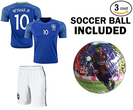 3d6185ebf Neymar Jersey  10 Brazil Youth Home Away Kids Neymar JR Soccer Jersey +  Shorts