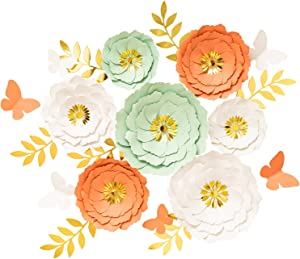 3D Large Paper Flowers Decorations for Wall, Wedding Wall, Baby Shower Party Decor, Nursery Decor, Bridal Shower, Flower Backdrop, Home Decor Set 7 pcs (Coral, Mint, White)