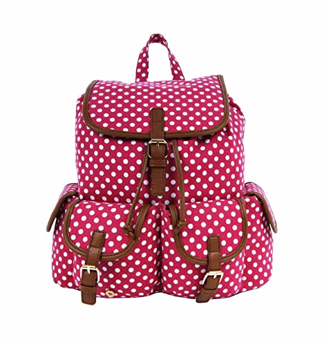 230f031b3c GOLDSTAR Ladies Girls Fashion Canvas Backpack Rucksack School College Uni  Travel Casual Bag Daypack - Polkadot Fuchsia  Amazon.in  Bags