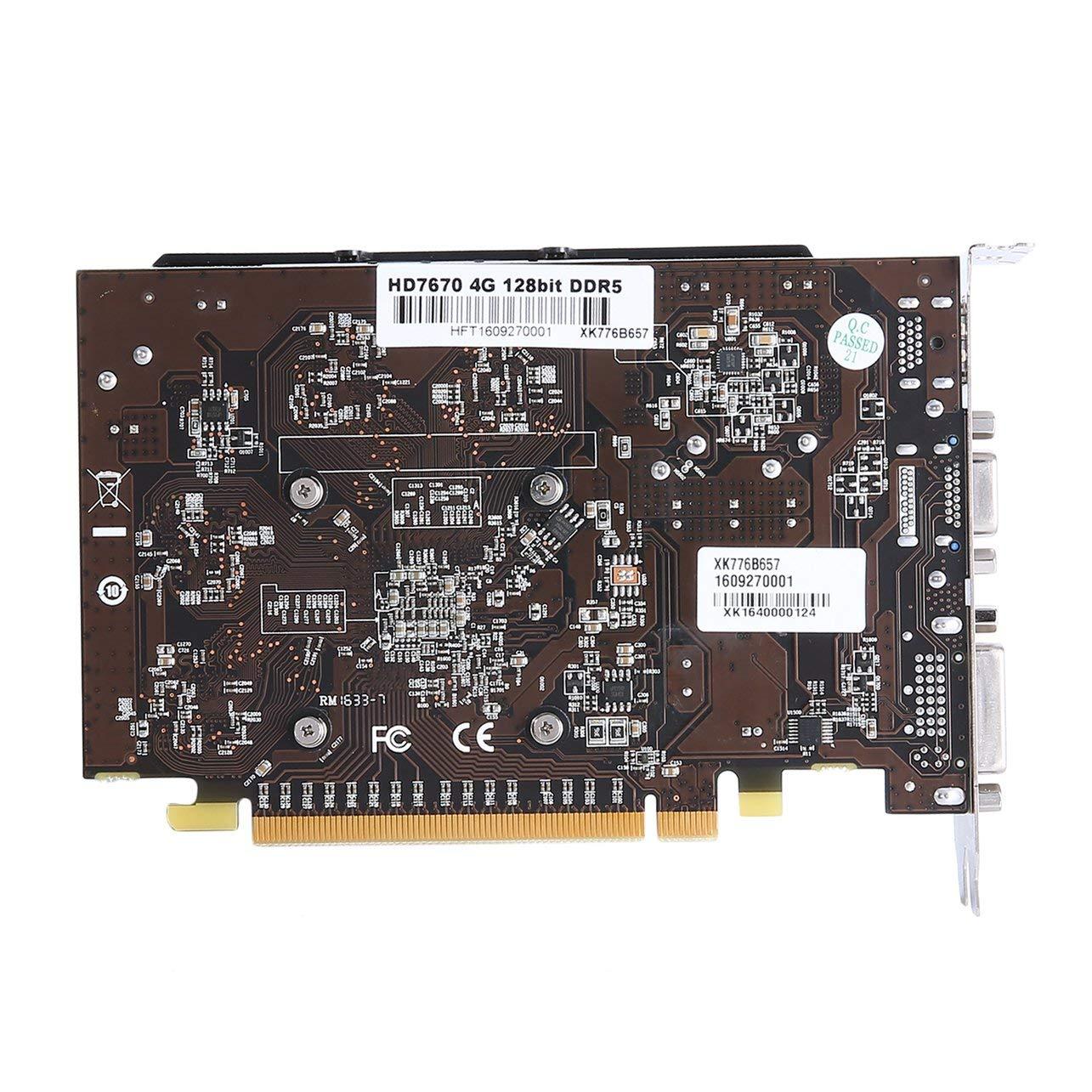 WOSOSYEYO WISENOVO HD7670 Carte Graphique vid/éo de Jeu GDDR5 4G 128bit VGA DVI HDMI