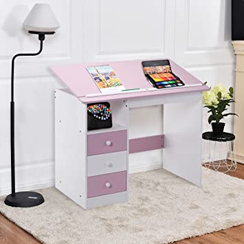 Tangkula Drawing Desk Drafting Table Adjustable Top Art Craft W/ Drawers