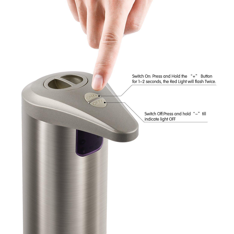 Sipobuy 250ml Dispensador de jabón automático, Countertop Touchless Sensor de acero inoxidable jabón con base impermeable, auto-soap manos libres para ...