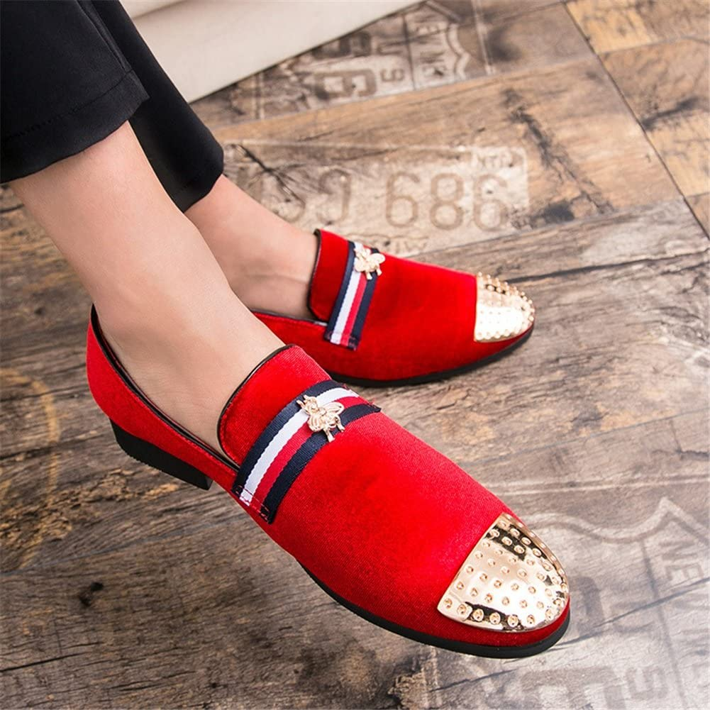 Color : Red, Size : 42 Mens Shoes Suede Leather Formal Shoes Spring//Fall Light Soles Loafers /& Slip-Ons Mens Casual Office /& Career//Driving Shoes