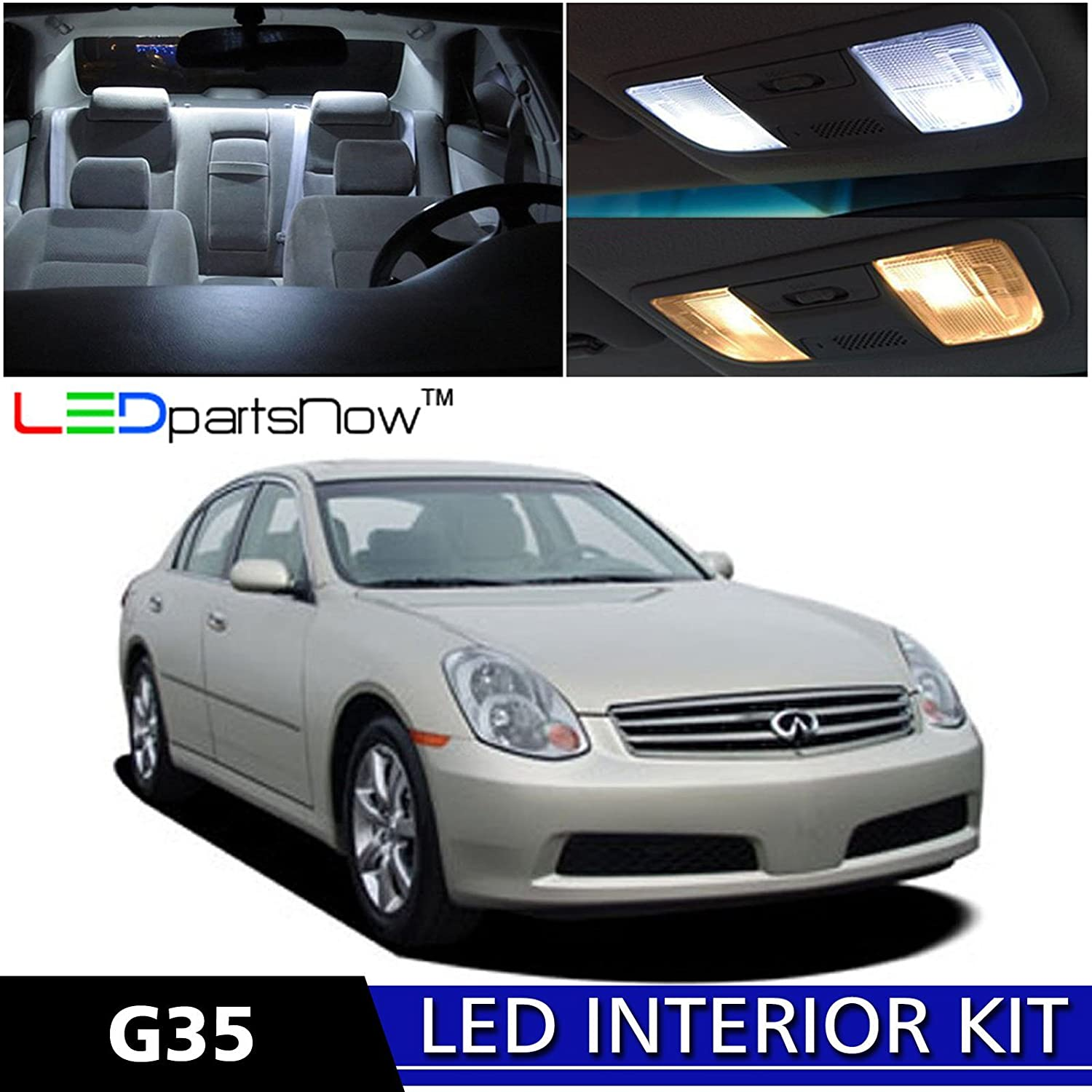 Amazon ledpartsnow 2003 2006 infiniti g35 sedan led interior amazon ledpartsnow 2003 2006 infiniti g35 sedan led interior lights accessories replacement package kit 9 pieces white automotive vanachro Choice Image