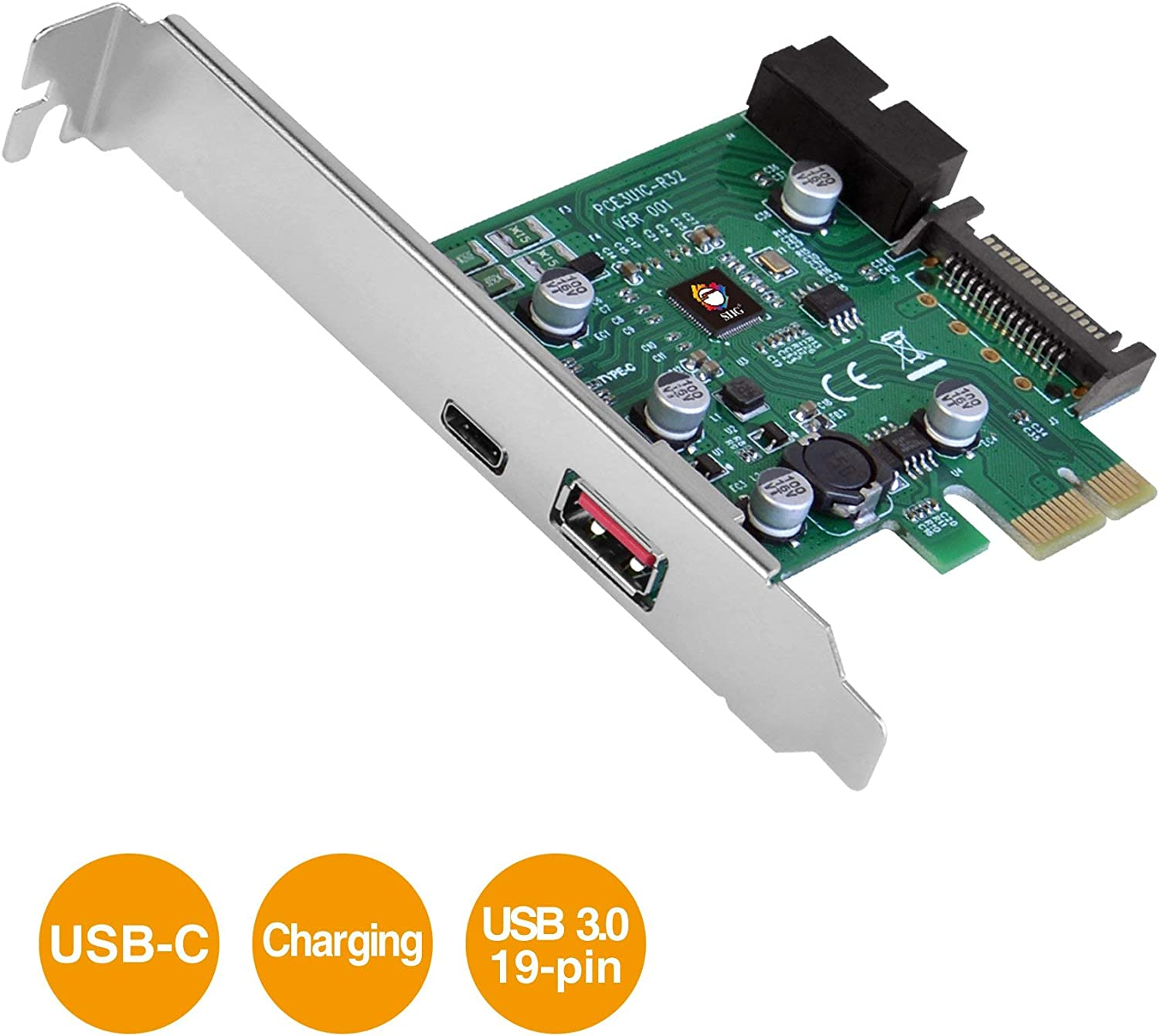 SIIG USB 3.1 3-Port PCIe with Charging Port Type-C Ready Gen 1