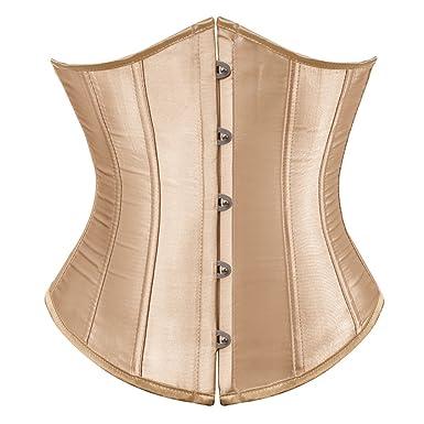 d7bab6985b Kranchungel Women s Vintage Satin Underbust Corset Bustier Waist Cincher  Bodyshaper Small Beige