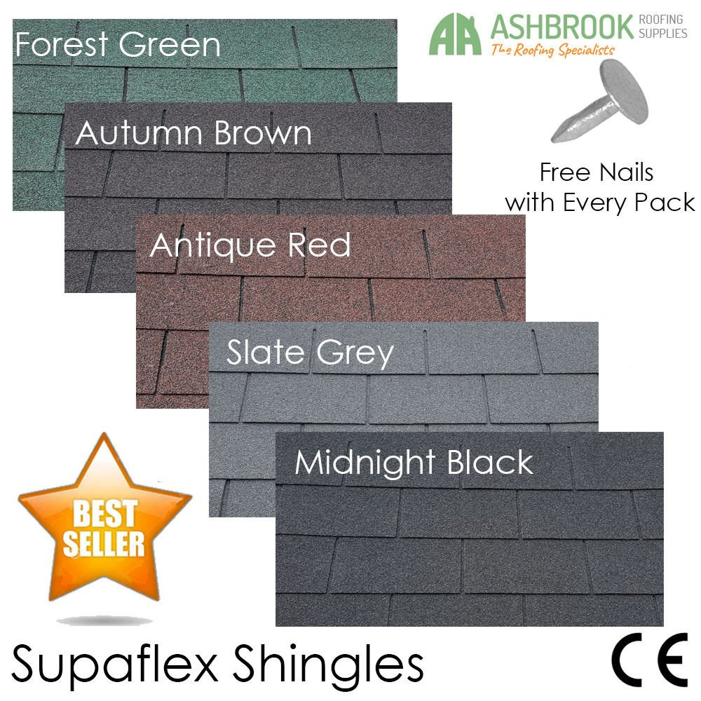 Roofing Felt Shingles | Shed Roof Felt | Square Butt | 4 Tab Black Asbrook Roofing