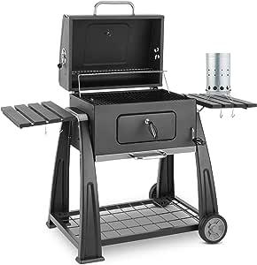 KLARSTEIN Bigfoot Set Parrilla carbón BBQ ahumadero + Encendido eléctrico 350W (Gran Superficie Grill asado, compuerta para Fuego, termómetro Integrado, asa Cool Touch, fácil y rápido Encendido)