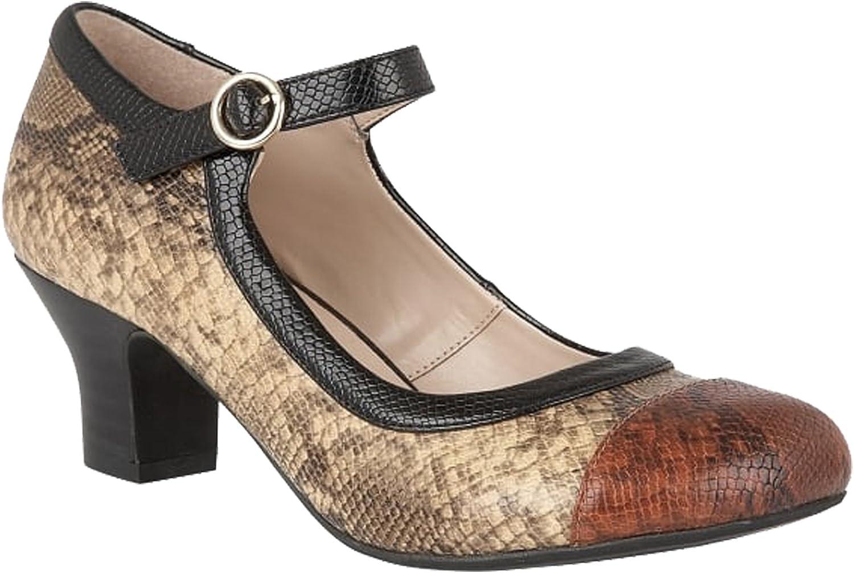 Lotus Ladies Hallmark ORNICE Brown Snake Print 1920s 1930s Mary Jane Shoes