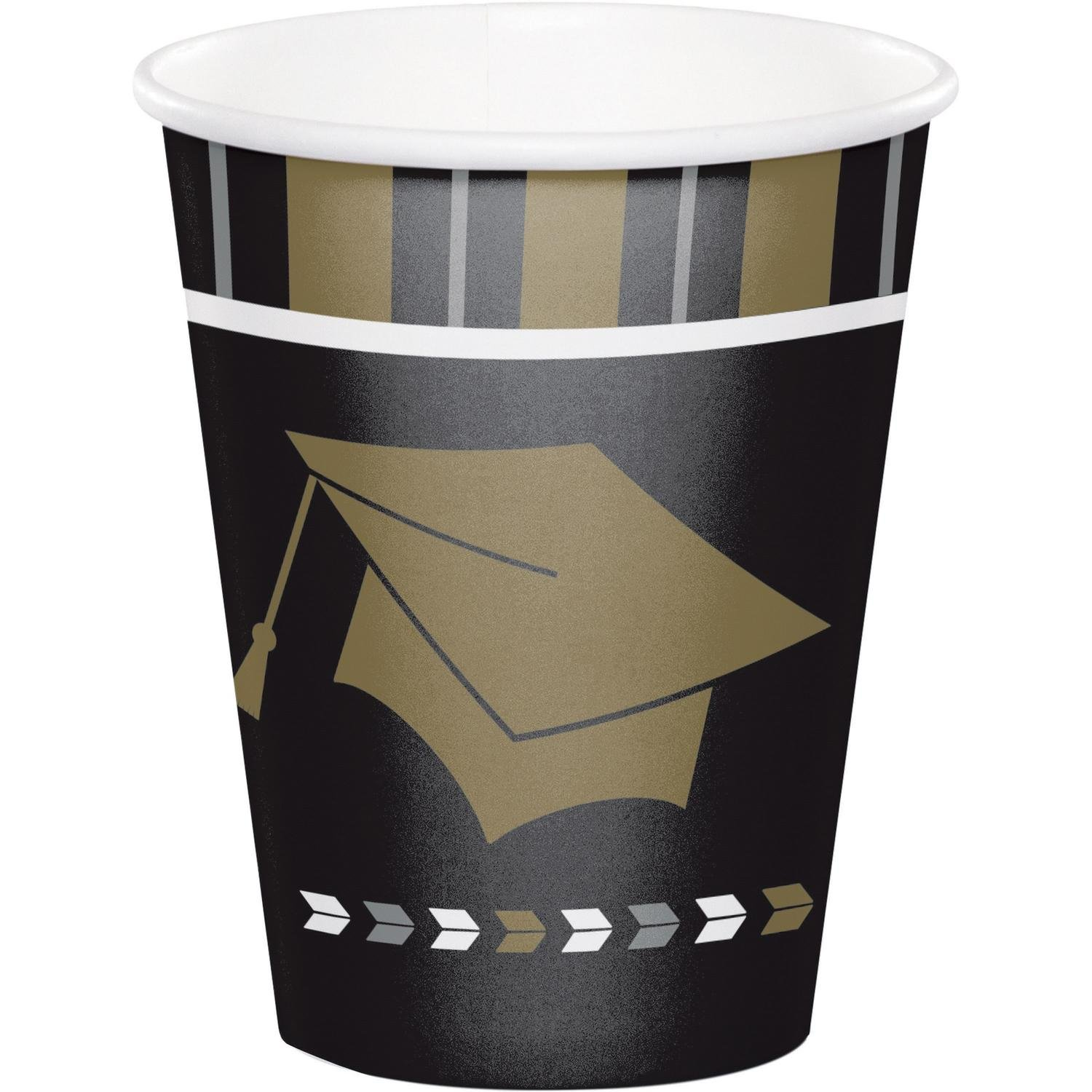 Pack of 96 Black and Brown Glitzy Grad Printed Cylindrical Cup 5.625''