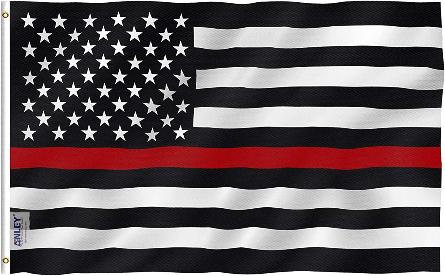 Anley Fly Breeze 3x5 Foot Thin Red Line USA Polyester Flag - Vivid Color and UV Fade Resistant - Canvas Header and Double Stitched - American Honoring Firefighter Flags with Brass Grommets 3 X 5 Ft