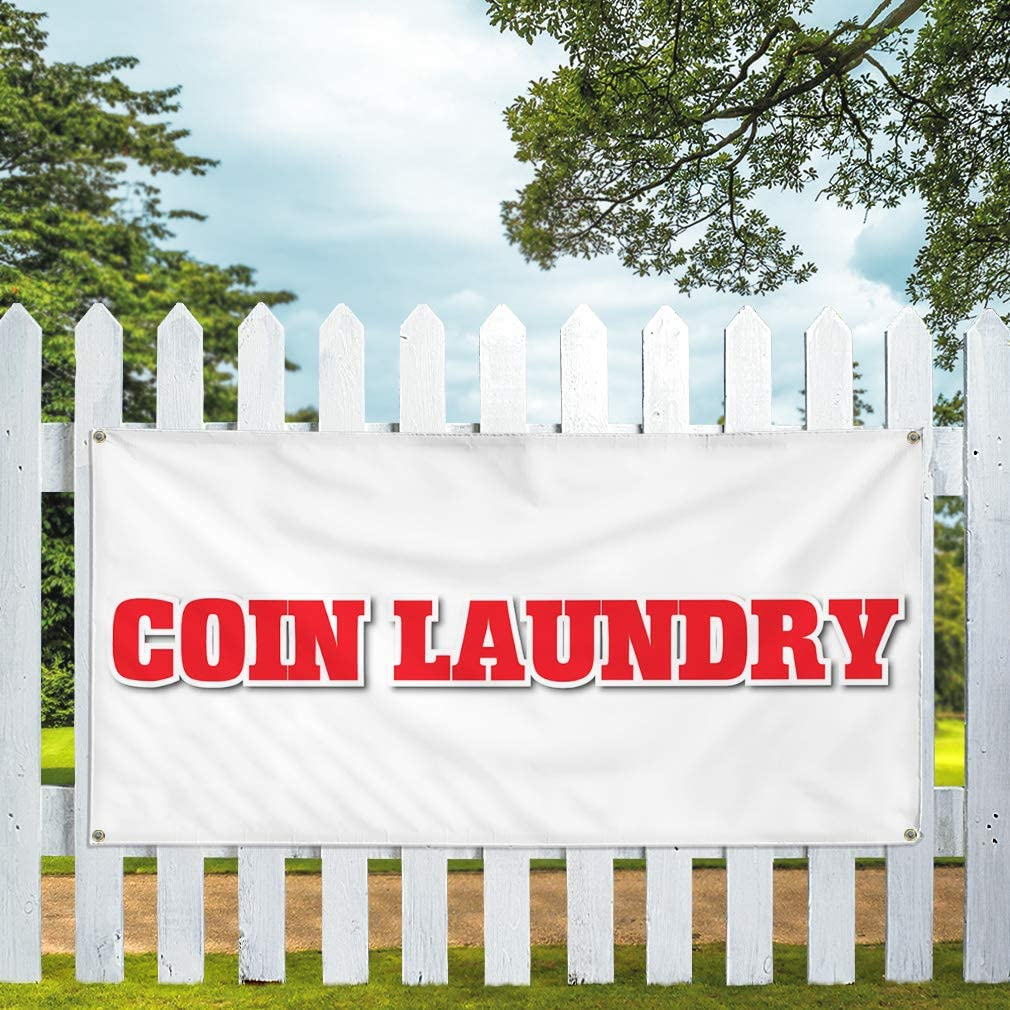 Vinyl Banner Multiple Sizes Coin Laundry Business C Business Outdoor Weatherproof Industrial Yard Signs White 10 Grommets 60x144Inches