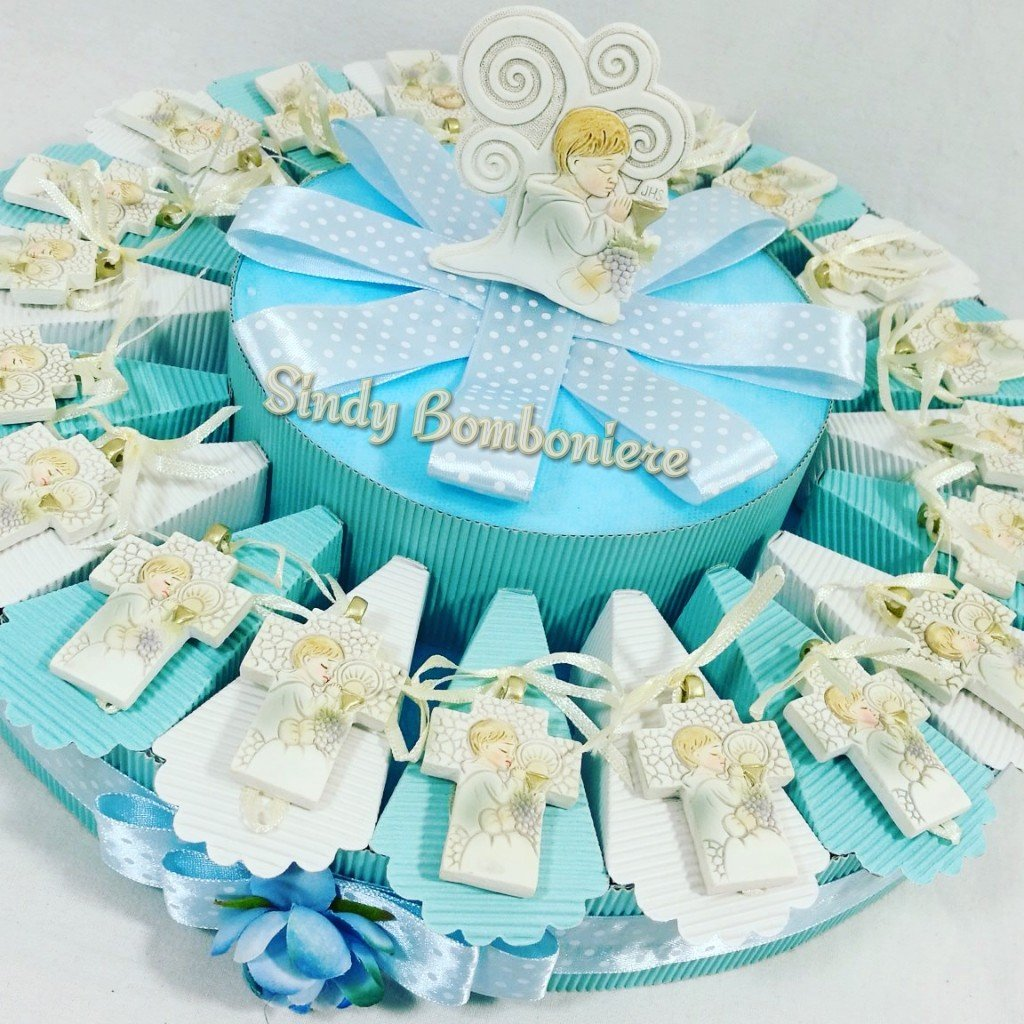 Original Bonbonniere Kuchen für Kommunion mit Kreuz TAO und Weihnachtsbaum Gebet Hängeorganizer Kind Torta Da 35 Fette + Centrale