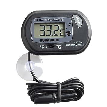 Neuftech LCD Termómetro Digital, Termómetro de agua para Acuarios y Viveros con Sonda de Temperatura y un Ventosa (Negro): Amazon.es: Electrónica