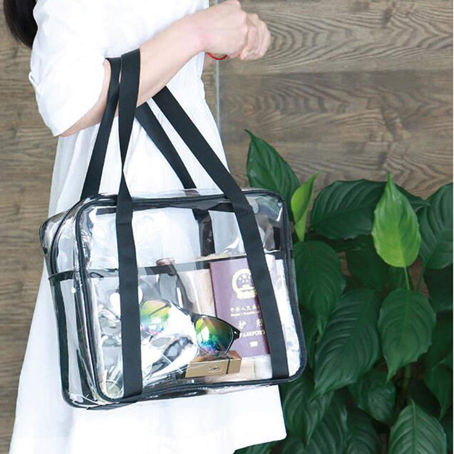 S 7.877.873.15INCH Sports Games,Travel Clear bag,Clear Tote Bag with Zipper Closure,Waterproof and High Capacity Perfect for Work