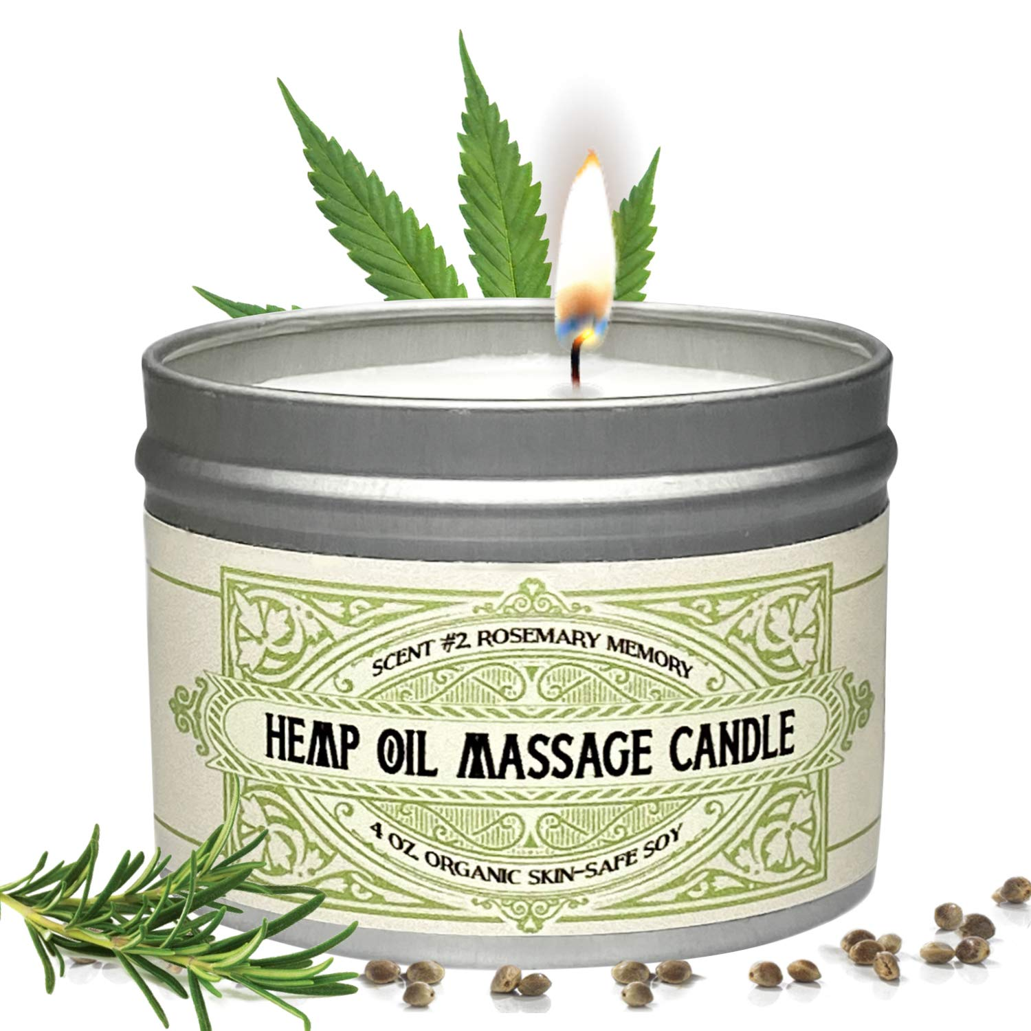 Massage Oil Candle For Pure Relaxation - Made From Organic Hemp Seeds Oil - Amazing Gift For Women & Men By Alter Native - Made In The USA - Rosemary Scent - 4 oz