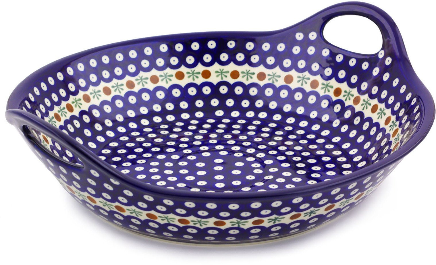 Polish Pottery Bowl with Handles 16-inch (Mosquito) by Polmedia Polish Pottery