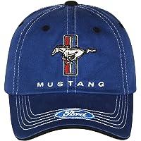Checkered Flag Men's Ford Mustang Cap Tri-Bar Pony Adjustable Blue Hat