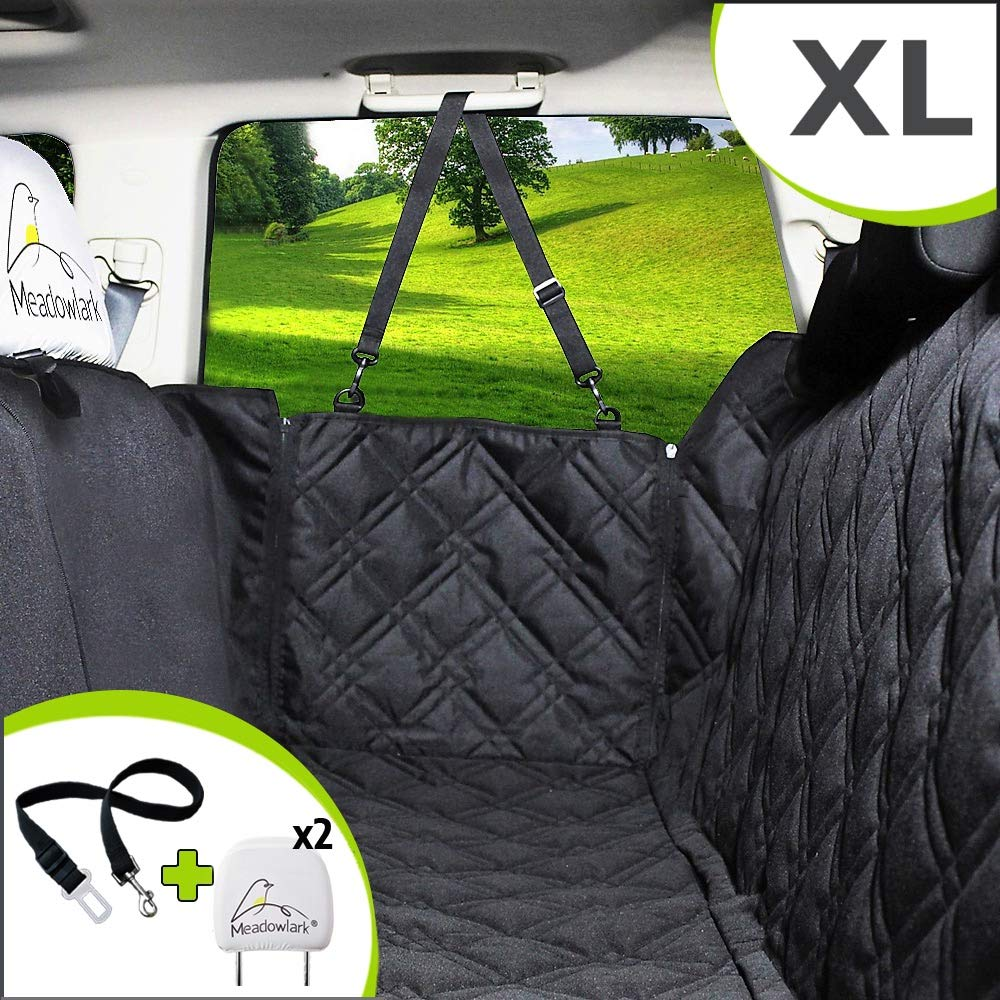 Meadowlark Dog Seat Covers Unique Design Full Car Protection-Doors,Headrests Backseat. Extra Durable Zippered Side Flap, Waterproof Pet Seat Cover Seat Belt 2 Headrest Protectors as a Gift