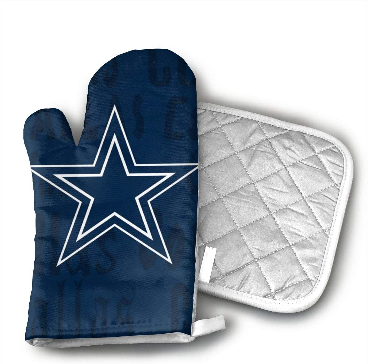 JFNNRUOP Dallas Cowboys Oven Mitts,with Potholders Oven Gloves,Insulated Quilted Cotton Potholders