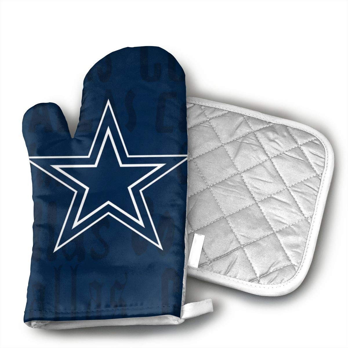 HGUIDHG Dallas Cowboys Oven Mitts+Insulated Square Mat,Heat Resistant Kitchen Gloves Soft Insulated Deep Pockets, Non-Slip Handles