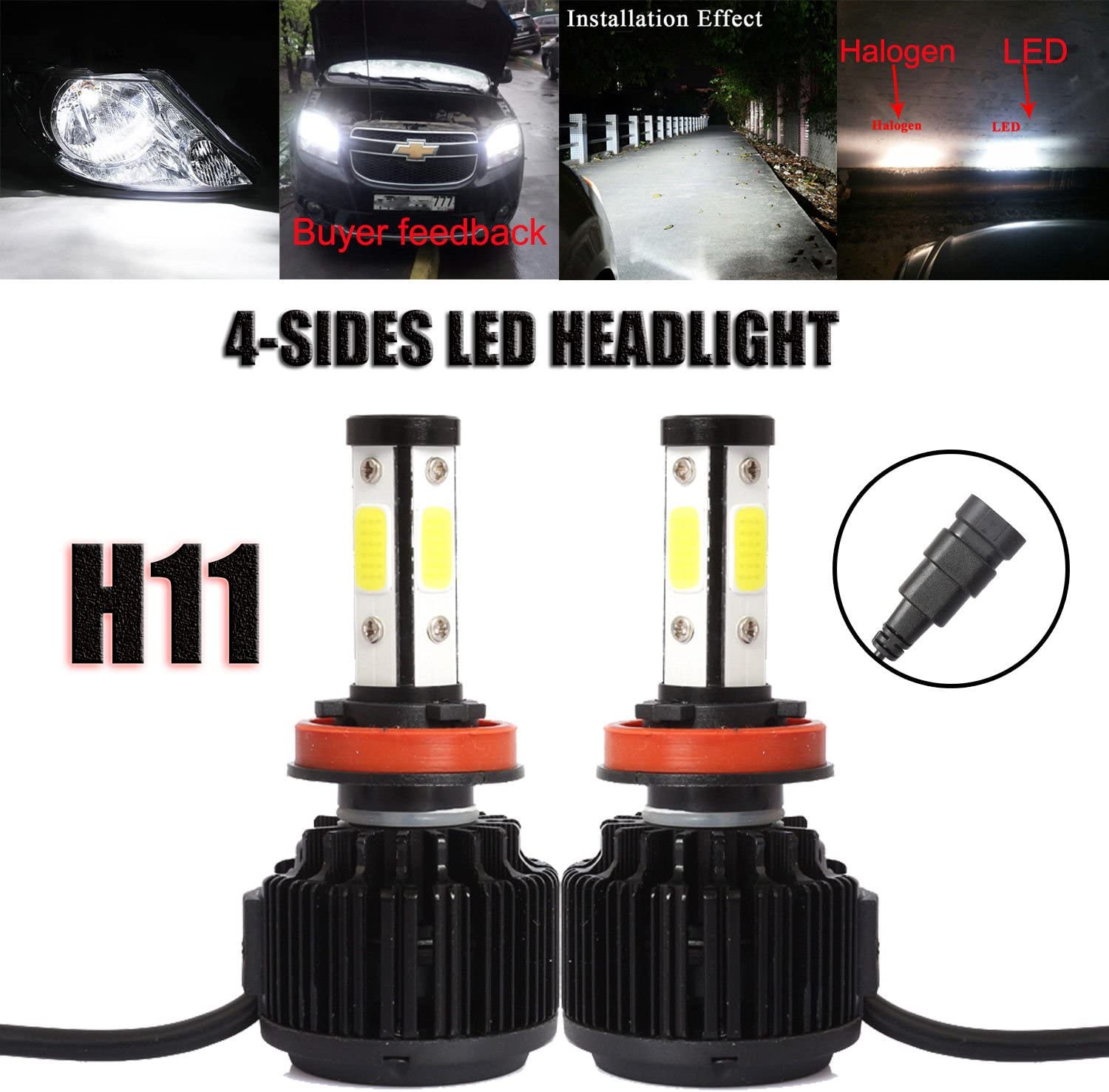 WISWIS 9005 LED Headlight Bulbs All-in-One Conversion Kit 6000K Cool White 200W 20000Lms Per Pair New Version Mini Size with COB LED Chips Super Bright High Beam