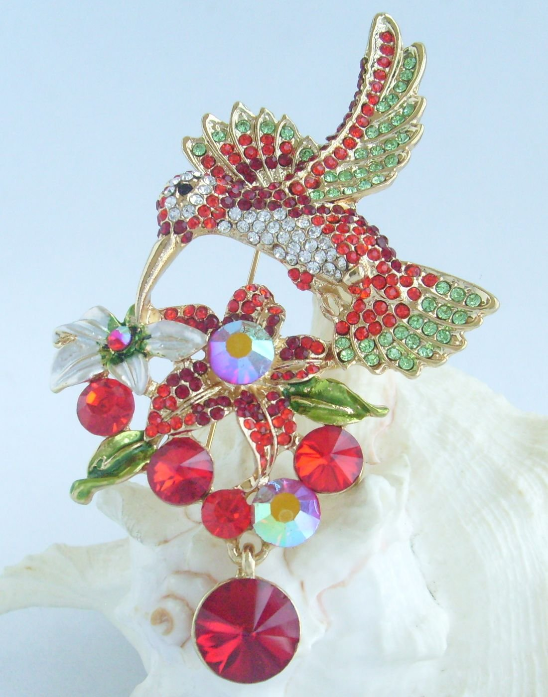 Sindary Pretty 3.54'' Animal Pendant Hummingbird Brooch Pin Rhinestone Crystal BZ6385 (Gold-Tone Red) by Animal Brooch-Sindary Jewelry (Image #4)