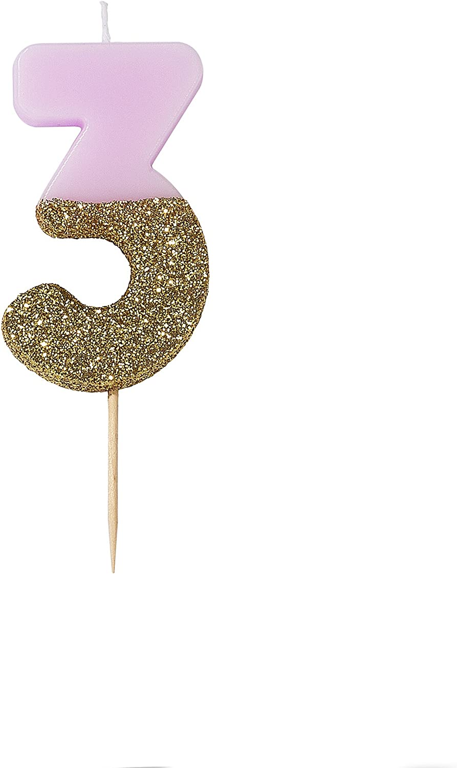 8cm Rose Gold Glitter Number 1 Candle Girls 1st Birthday Party Cake Decoration