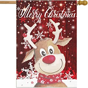 Christmas Winter Reindeer House Flags 28 x 40 Double Sided Red Snowflakes Snow Elk Animals Yard Outdoor Garden Flag Banner Party Home Xmas Holiday Decorations