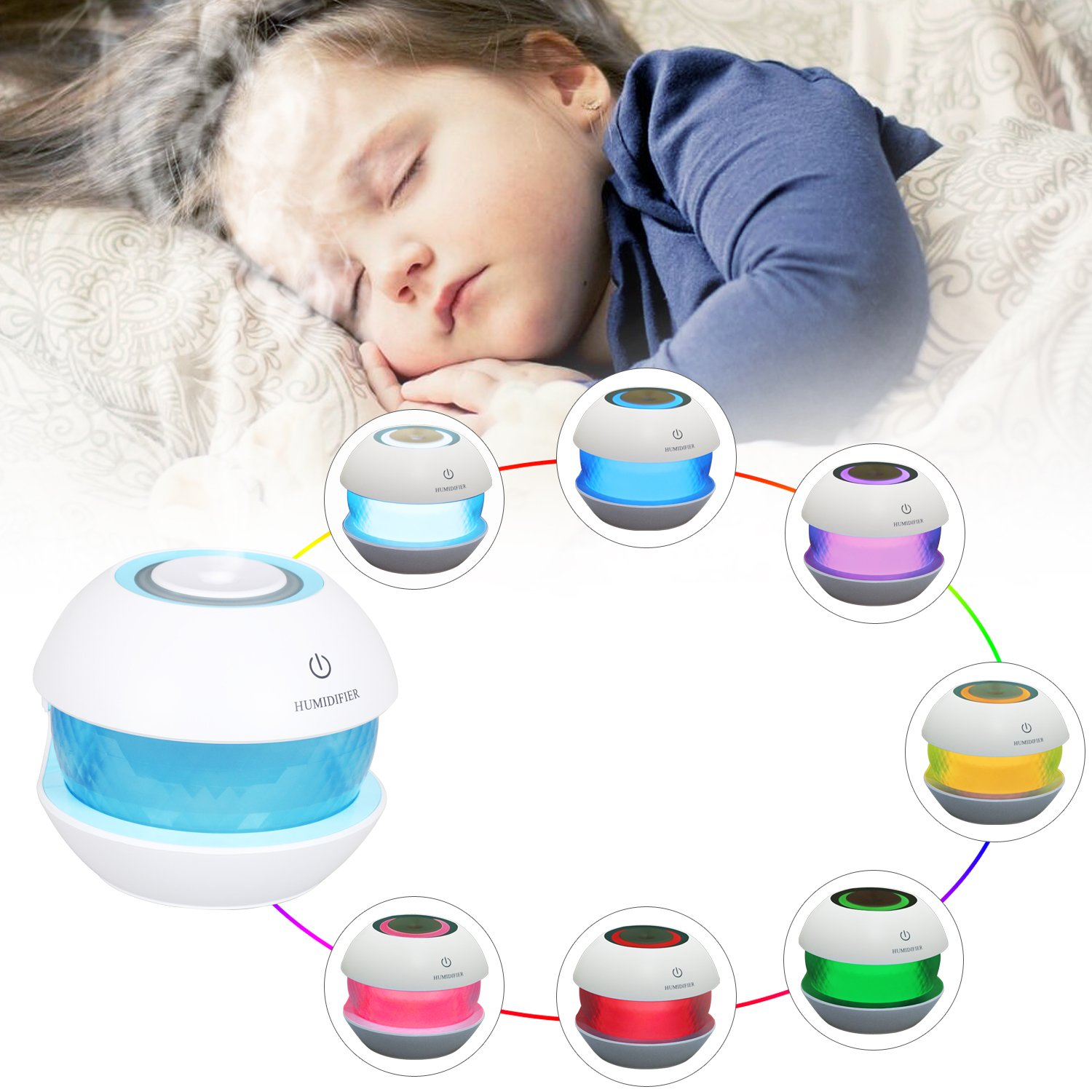 150ML USB Humidifiers Ultrasonic Cool Mist Air Humidifier Diffuser Essential Oil Diffusers Aroma Room Night Lighting 7 LED Color Changing Lamps Waterless Auto Shut-Off For Car Office Spa Yoga Room