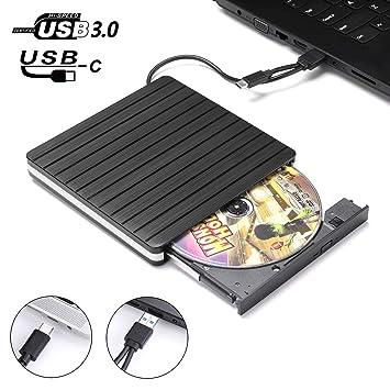 JFUNE Grabadora CD DVD Type-C USB 3.0 External CD DVD Drive Externa Lector Quemador CD/DVD para Windows 10/7/8/XP/Vista/Linus/Mac OS