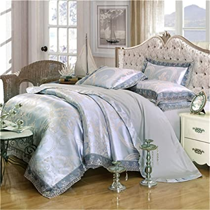 df1ccbd2823ec Image Unavailable. Image not available for. Color  RESTPN Gold Silver  Coffee Jacquard Luxury Bedding Set Queen King Size Stain ...