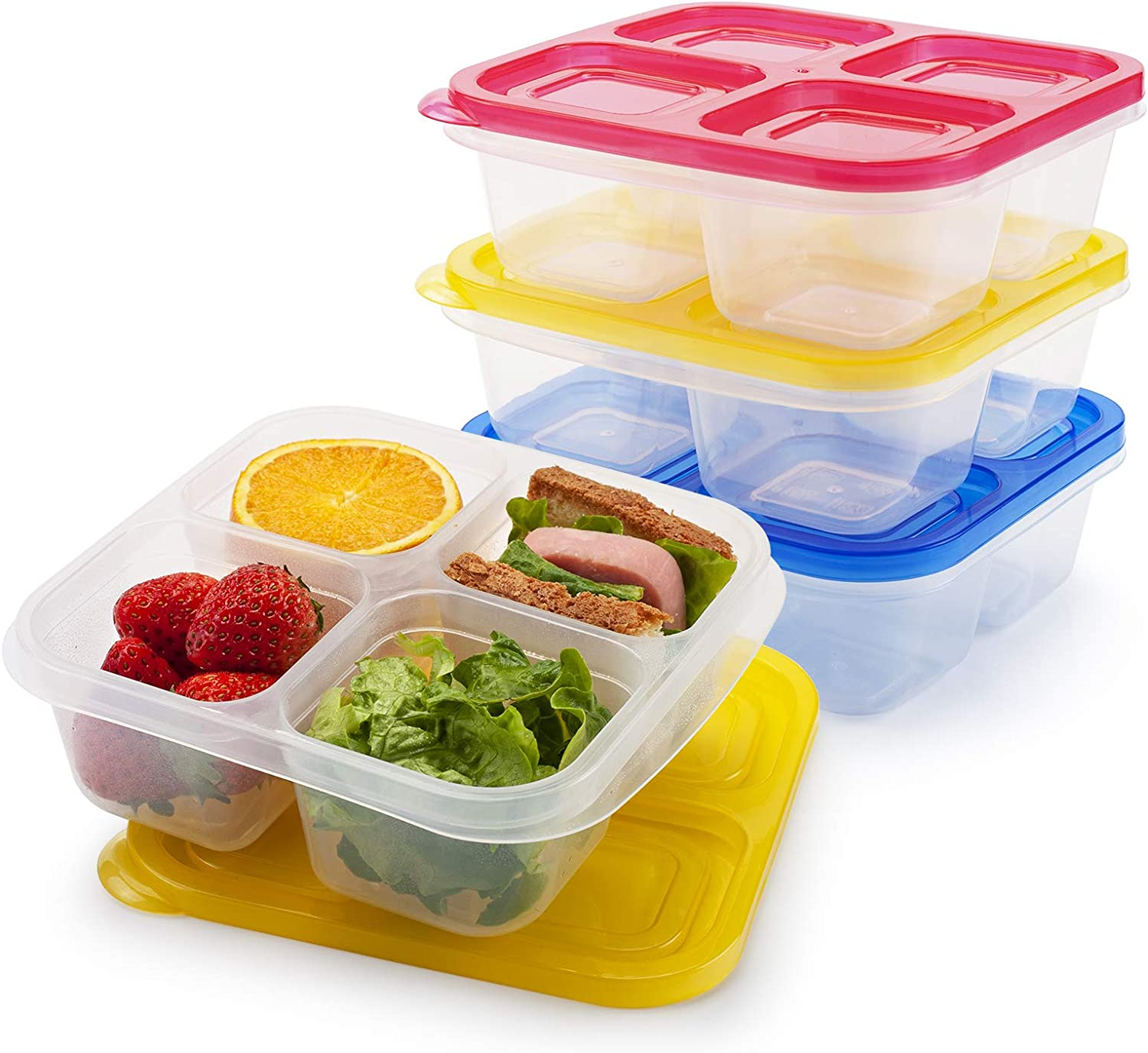 Freshmage Bento Snack Food Containers, Set of 3 Reusable 4 Compartments Leakproof Food Meal Prep Containers for School and Work