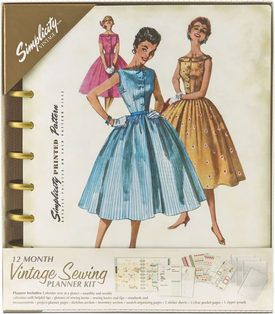 Simplicity Vintage Fashion Sewing 12 Month Planner, 232 Pages, 8.6'' x 9.5''