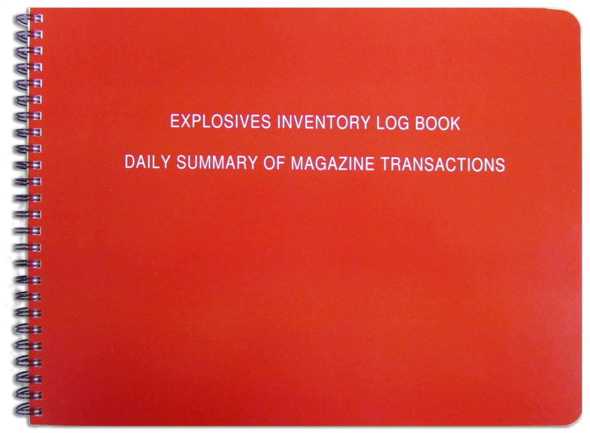 BookFactory Explosives Inventory Log Book / Daily Summary of Magazine Transactions - 100 Pages - 11'' x 8 1/2'', Red-TransLux Cover - Wire-O (LOG-120-7CW-A-(EXPLOSIVES))