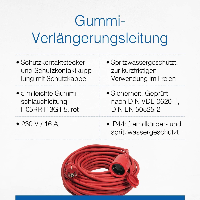 As Schwabe Gummi Verlängerungsleitung 5 M Kabel Mit Schutzkontaktwickelstecker Schutzkontaktkupplung Inkl Schutzkappe 230 V 16 A Verlängerungskabel Ip44 Rot I 60205 Baumarkt