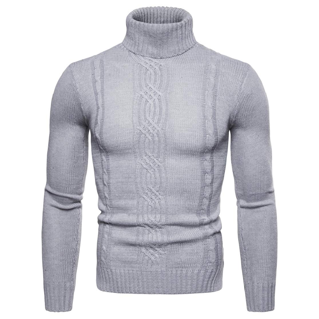 Colourful Mens Trim-Fit Long Sleeve Mock Neck Solid Pullover Knitting Sweater