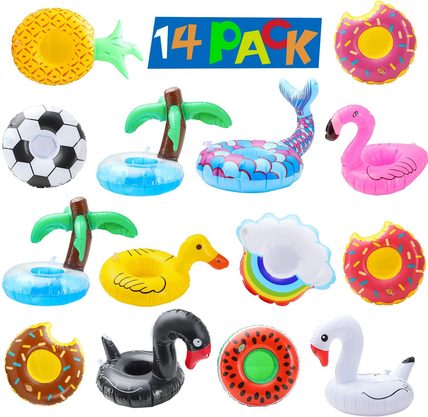 Inflatable Drink Holders, 8 Pack Pool Water Float Drink Floaties Party Accessories Cup Coasters for Summer Pool Beach & Kids Water Bath Fun Toys