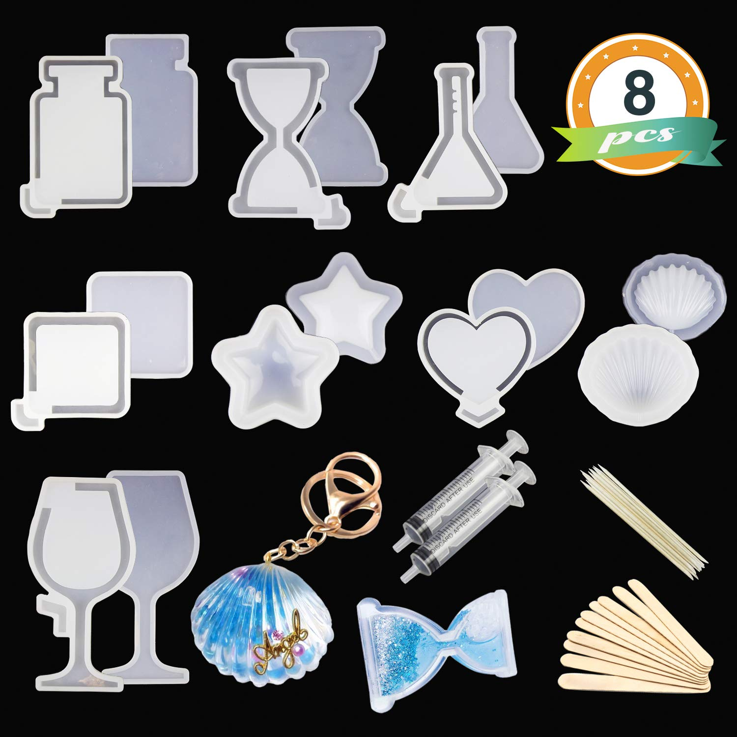 Home Decoration Jewelry Casting Molds for Jewelry Necklace//Candle//Soap Making Resin Jewelry Molds Silicone Molds for Resin LETS RESIN 9PCS Resin Molds Crystal Stone Shape