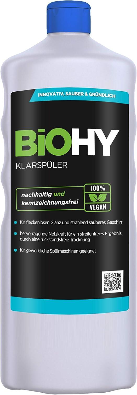 BiOHY Abrillantador (1 botella de 1 litro)   Apto para todos los lavavajillas   para un brillo inmejorable en los vasos y platos sin manchas de agua (Klarspüler)