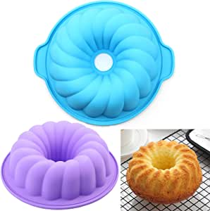 AILEHOPY European Grade Silicone Cake Mold Non Stick Bakeware Fluted Tube Cake Pan for Jello,Gelatin, Silicone Molds for Cakes 8-10Inch Baking Pan 2PACK