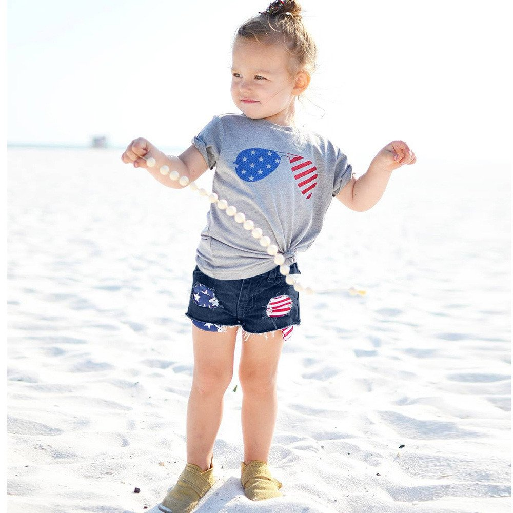 Lurryly 2Pcs Toddler Boys Girls American Flag Splice T-Shirt Denim Shorts Outfits 1-5 T